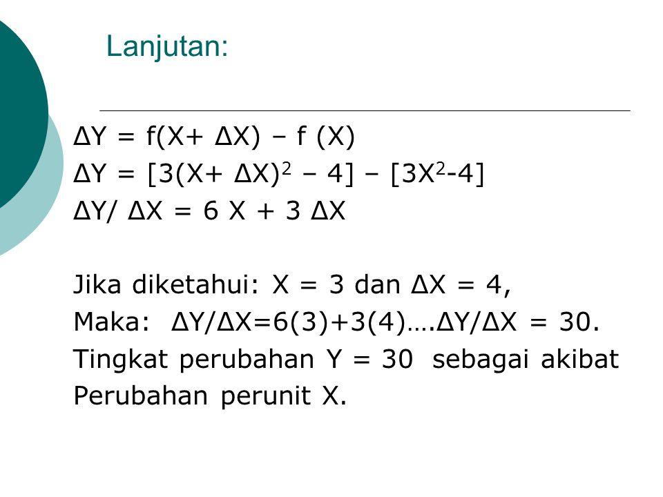 Lanjutan: ΔY = f(X+ ΔX) – f (X) ΔY = [3(X+ ΔX)2 – 4] – [3X2-4]